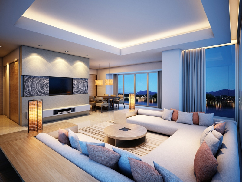 delightful-low-ceiling-lights-using-led-light-for-modern-living-room-with-cozy-sofa-sets-decoration